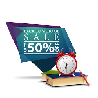 Modern blue geometric discount banner to the back to school with alarm clock