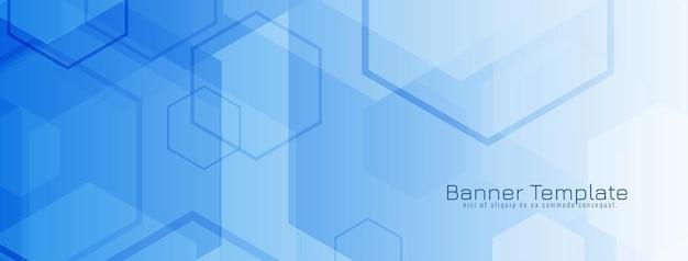 Modern blue geometric hexagon shapes banner design vector