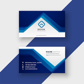 Modern blue geometric style business card vector illustration