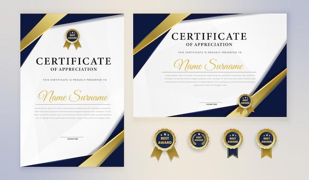 Modern blue gold elegant certificate