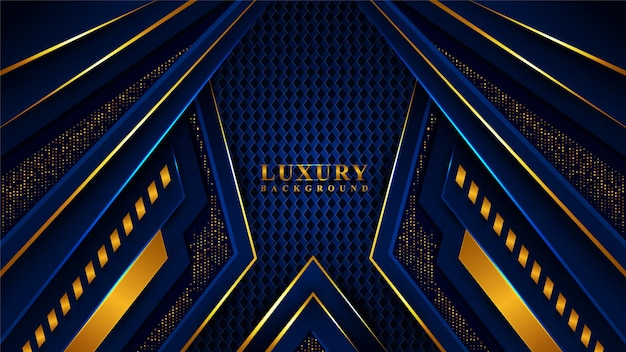 Modern blue and gold luxury background Premium Vector