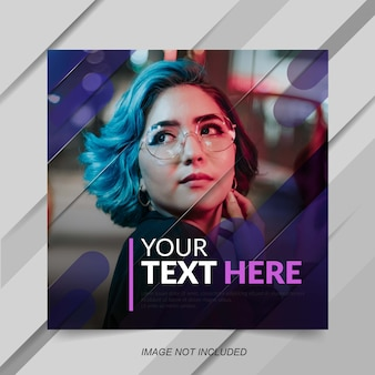 Modern blue gradien effect template for social media post