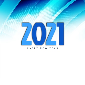Modern blue happy new year 2021 background vector