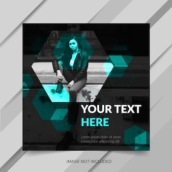 Modern blue instagram post or banner template