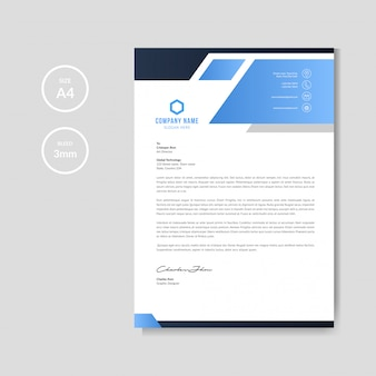 Modern blue letterhead background