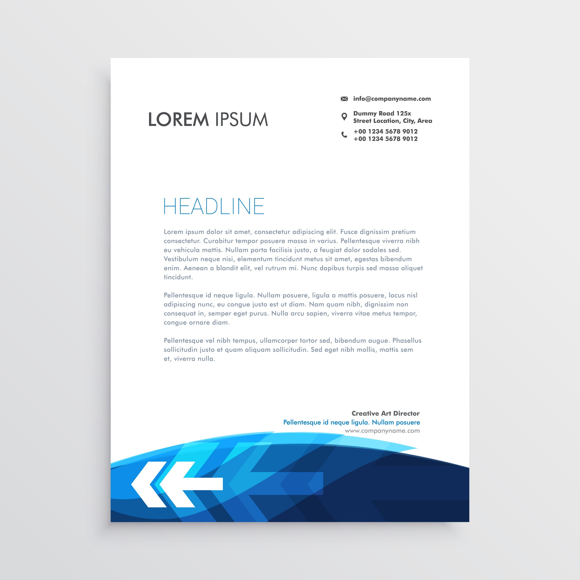 Modern blue letterhead design with arrow shape