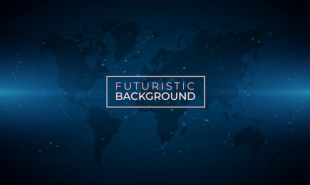 Modern blue luminous background with world map