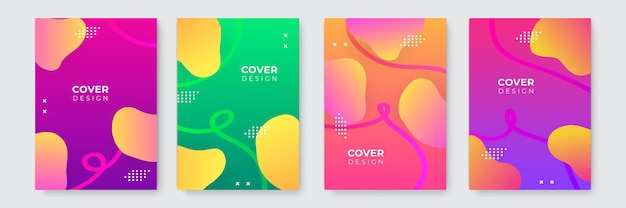 Modern blue orange green pink purple abstract background vector business cover template. business minimal background with halftone circle frame. gradient background.