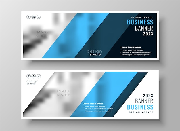 Modern blue professional business facebook cover or header set of two