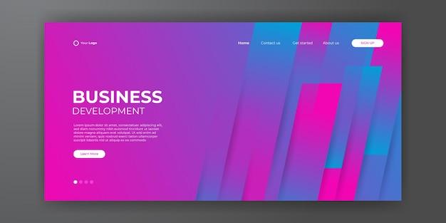Современный синий красный шаблон целевой страницы бизнеса с абстрактным современным 3d фоном. динамическая градиентная композиция. дизайн посадочных страниц, обложек, флаеров, презентаций, баннеров. векторная иллюстрация