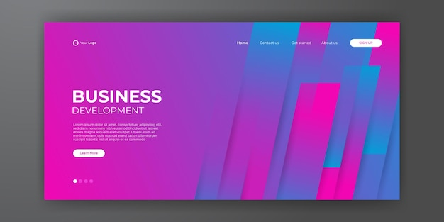 Modern blue red business landing page template with abstract modern 3d background. dynamic gradient composition. design for landing pages, covers, flyers, presentations, banners. vector illustration