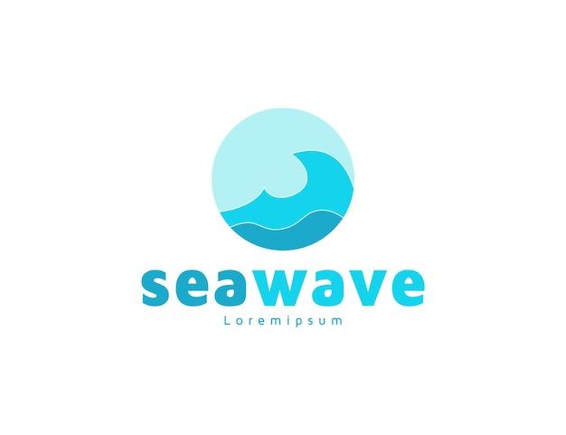 Modern blue sea wave logo design