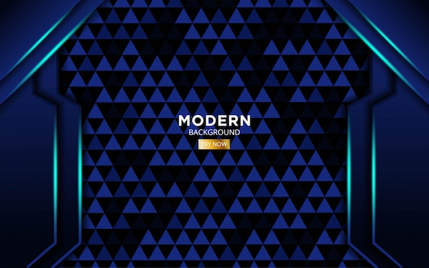 Modern blue shape future vector background with blue light lines in triangle texture.