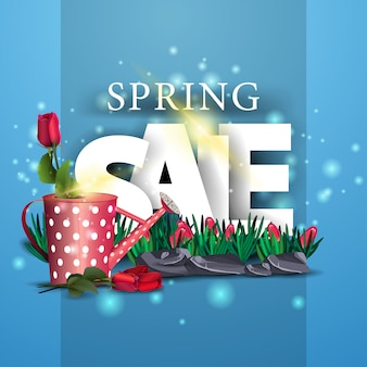Modern blue spring sale banner with rose in the watering can