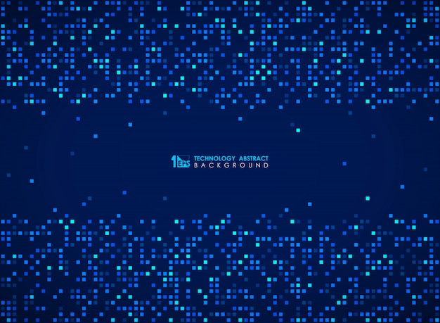 Modern blue square bit pattern of futuristic design background.