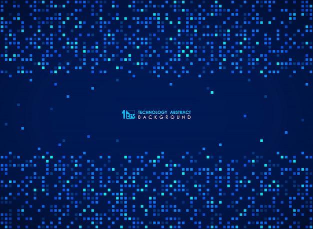 Современный синий квадратный узор бит футуристический дизайн фона.