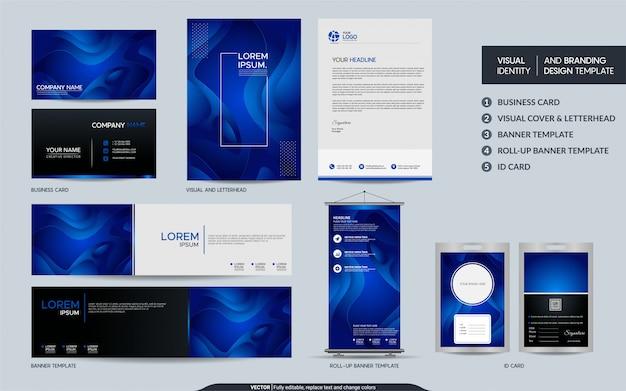 現代の青い文房具セットと抽象的なカラフルな動的背景図形と視覚的なブランドアイデンティティ。