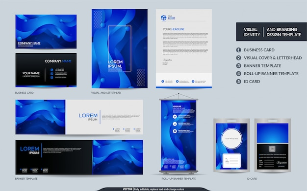 Modern blue stationery set and visual brand identity with abstract colorful dynamic background shape.