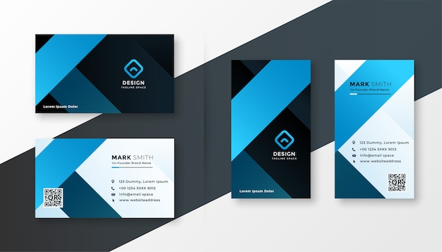 Modern blue theme business card template design set
