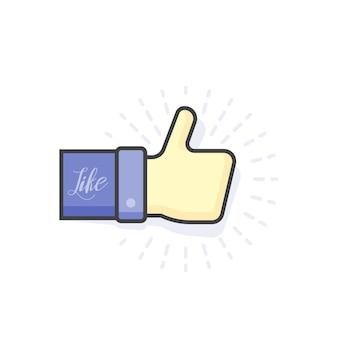 Modern blue thumb up icon, vector illustration