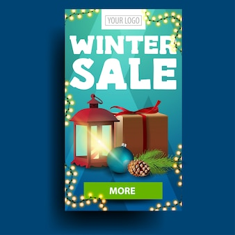 Modern blue vertical winter discount banner with present, vintage lantern and green button