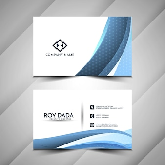 Современная визитная карточка синей волны