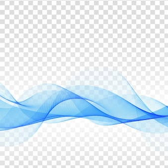 Modern blue wave transparent background