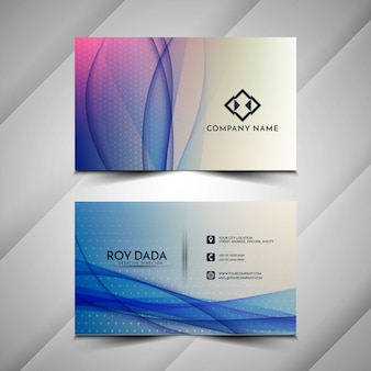 Modern blue wavy business card design