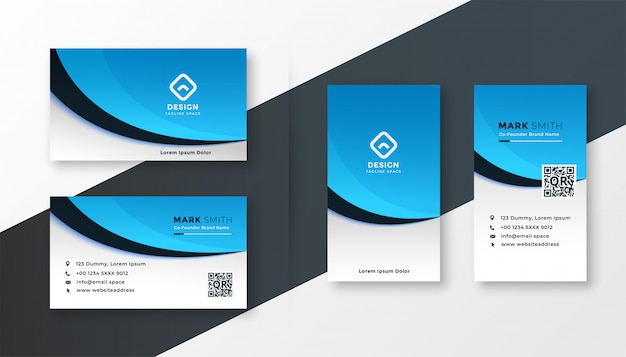 Modern blue wavy business card template