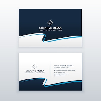 Modern blue wavy business card vector design