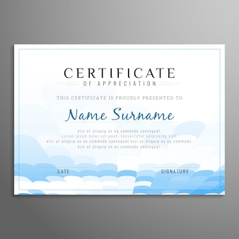 Modern blue and white certificate design