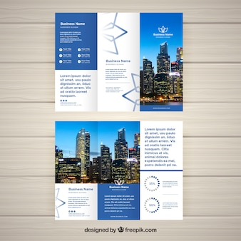Modern blue and white trifold brochure