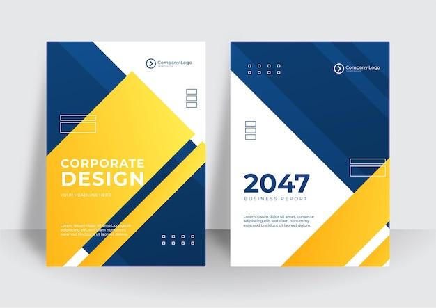 モダンな青黄色のビジネス企業のカバーデザインの背景。ブルーデジタルコンテンポラリーカバー、テンプレート、ポスター、パンフレット、バナー、チラシ。抽象的な最小限の未来的な技術設計