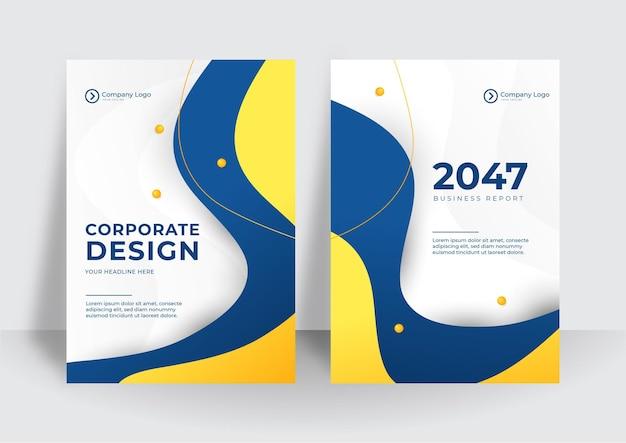 현대 파란색 노란색 기업의 정체성 커버 비즈니스 벡터 디자인 배경. 플라이어 브로셔 광고 추상적인 배경입니다. 전단지 현대 포스터 잡지 레이아웃 템플릿입니다. 연례 보고서 표지.