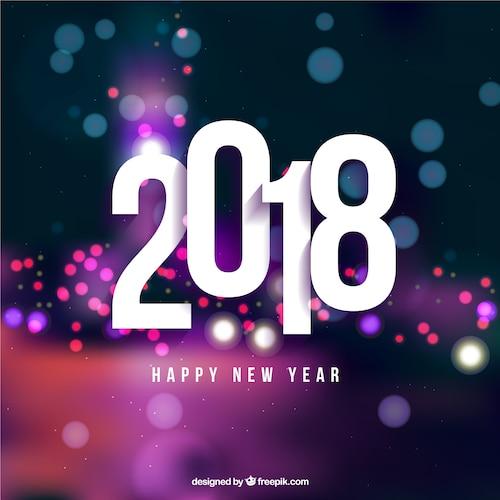 Modern blurred new year 2018 background