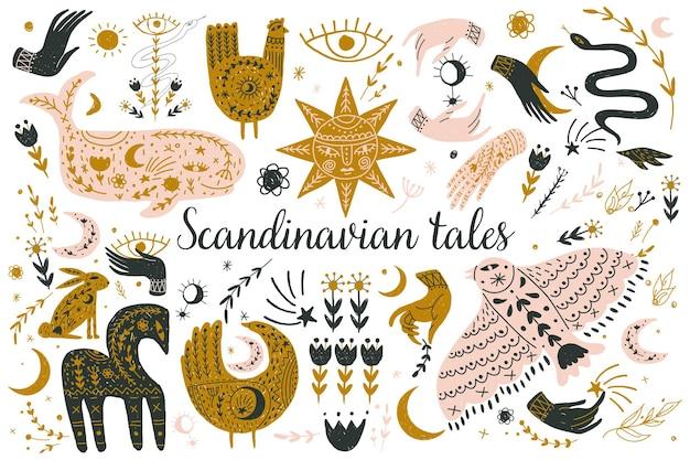 Modern bohemian style, folk tribal art in the scandinavian style.