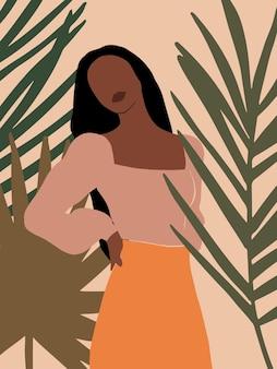 Современная бохо абстрактная женщина с актуальными листьями модный образец для плаката карты социальных сетей