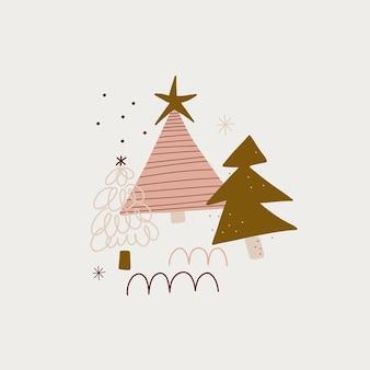 デザインのための現代の自由奔放に生きるヒュッゲミニマリズムメリークリスマスと新年の冬のステッカー