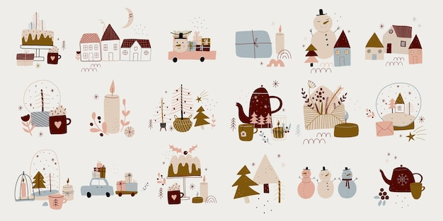 Modern boho hygge minimalism merry christmas and new year winter stickers for design