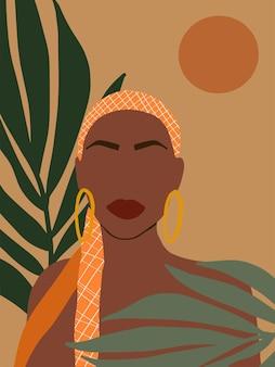 Современный минималистский плакат в стиле бохо с черной женщиной и тропическими листьями