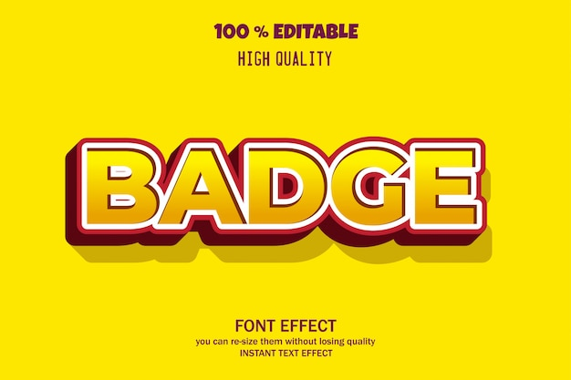 Modern bold badge text style editable font effect