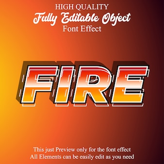 Modern bold fire text style editable font effect