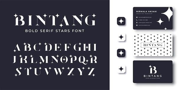 현대 대담한 세리프 스타 글꼴 및 명함 디자인
