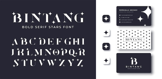 Modern bold serif star font and business card design