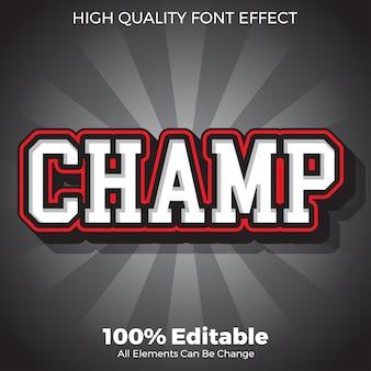 Modern bold sport champ text style editable font effect