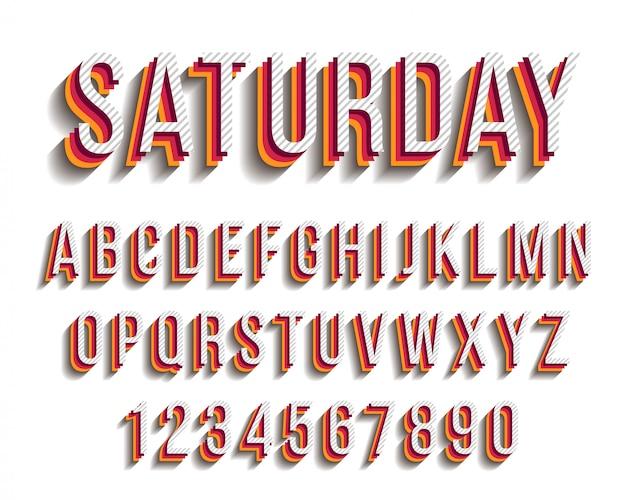 Modern bold stripes typography design font