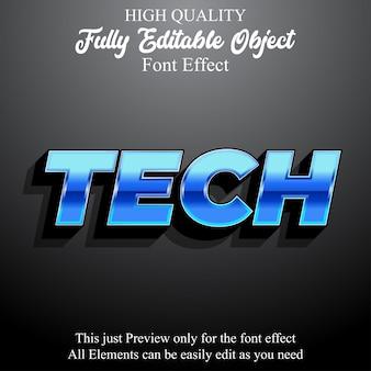 Modern bold tech text style editable font effect