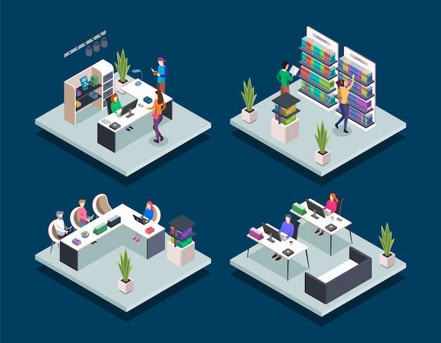 Modern book library isometric color vector illustrations set. people in bookstore. student in university computer class. school pupils reading. public library 3d concept isolated