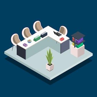 モダンな本の図書室のカラーイラスト。大学のコンピューター教室。会議室、ラップトップを備えたオフィスデスク。青色の背景に公共図書館のインテリアのコンセプト
