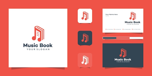 Modern book music logo and inspiration business card